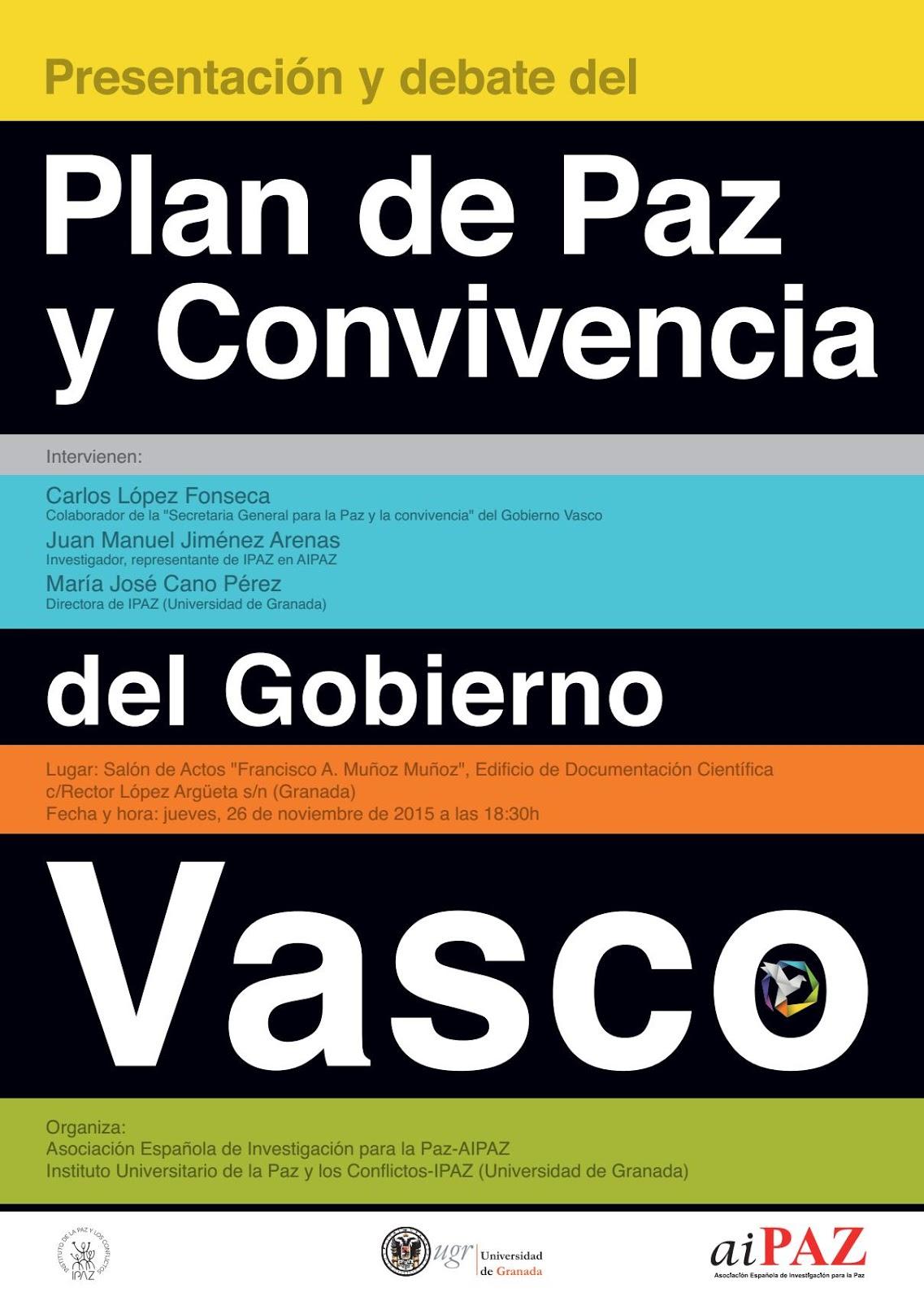 Acto de Presentación y Debate del «Plan de Paz y Convivencia» del Gobierno Vasco