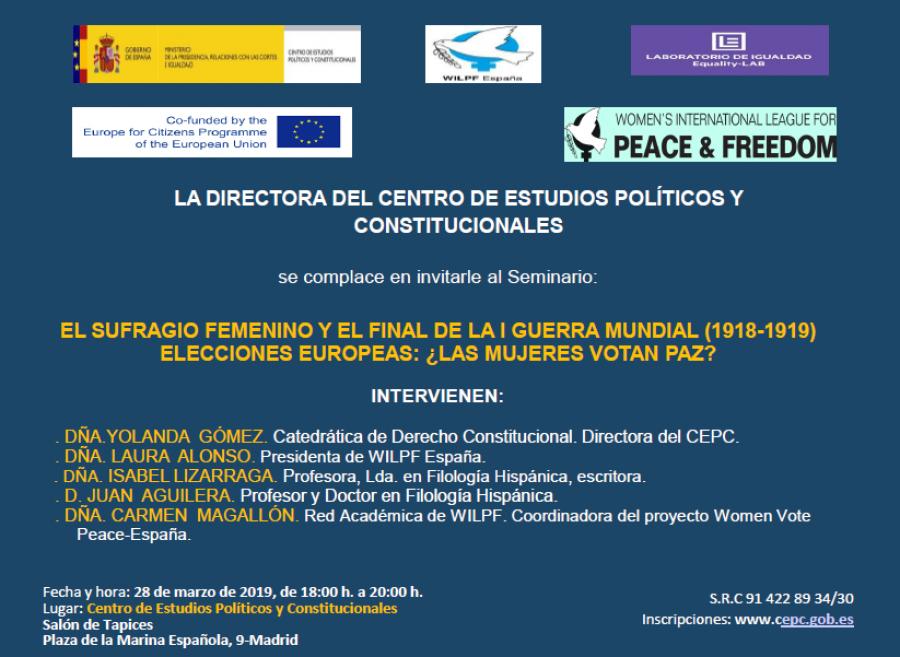 El sufragio femenino y el final de la Primera Guerra Mundial (1918-1919). Elecciones europeas: ¿las mujeres votan paz?